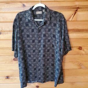 Natural Issue Black & Tan Rayon Button Down Shirt